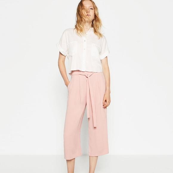 cc4cbdea Zara Pants | Nwt Soft Pink Chiffon Culottes With Belt Tie | Poshmark